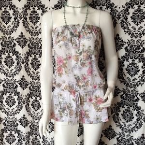 Lucky brand floral tube romper shorts
