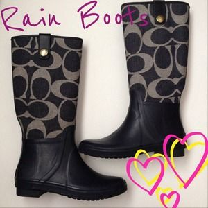 Coach denim rain boots