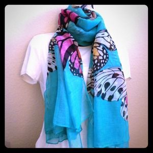 Accessories - Blue-green butterfly scarf