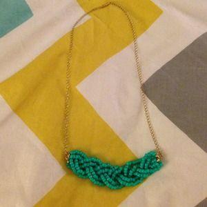 Jewelry - Handmade turquoise beaded braid necklace