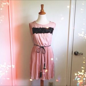 Blush Dress + Black Lace Appliqué & Tassel Belt