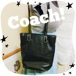 SALE Vintage Black Leather Coach bag Authentic