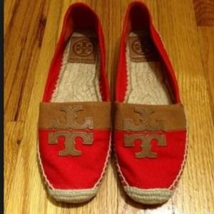 Tory Burch orange Espadrille flats EUC, 9