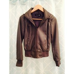 Grey forever 21 hooded leather jacket.