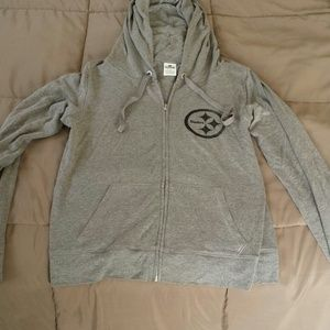 Victoria's Secret Tops - Pink gray steelers zip up hoodie
