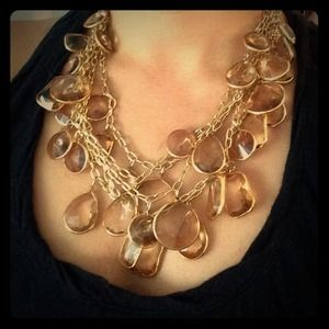 Jcrew multi-layer smoke-pink quartz gold necklace