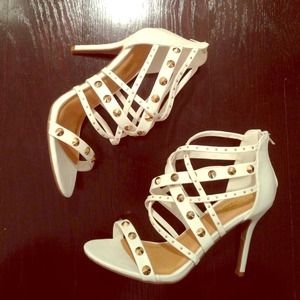 Charlotte Russe Shoes - Strappy white sandals/booties. Sz. 8