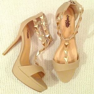 Charlotte Russe Shoes - Strappy nude pumps Sz. 8