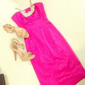 bebe Dresses & Skirts - Hot pink strapless dress Sz. S