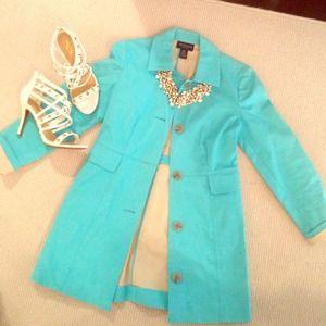 Ann Taylor Jackets & Blazers - Gorgeous baby blue trench/jacket Sz. XSp