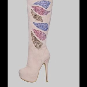 Alba Boots - Nude High Heel Boots