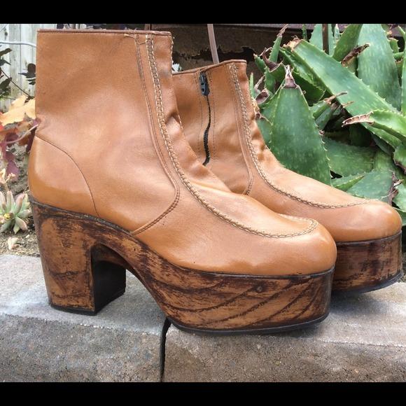 197s Mens Wood Platform Zip Ankle Boots