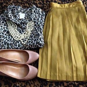 Gap Mustard Pleated Skirt 4
