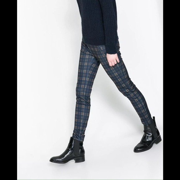 58% off Zara Pants - Zara navy blue plaid trouser legging pants ...