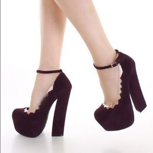 Eggplant Faux Suede Chunky Heels