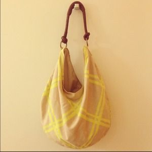 Canvas hobo bag with neon yellow stripes