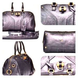 YSL Muse Bowling Bag in black w/gold hardware.