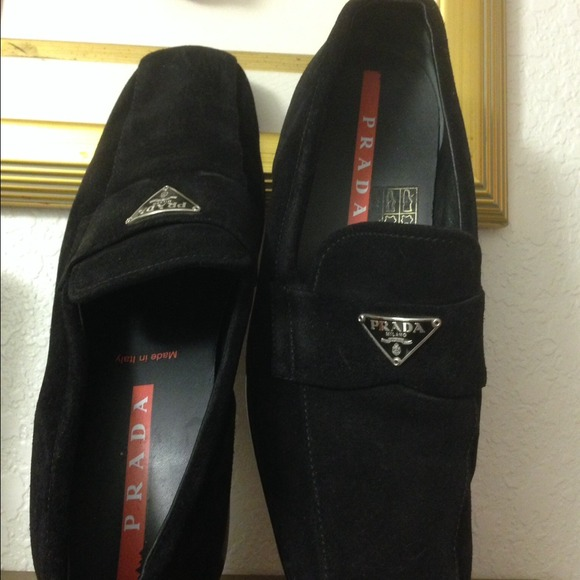 Prada Black Suede Loafers