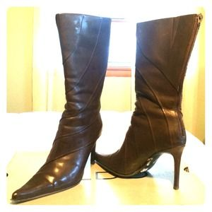 Aldo brown leather boots skinny heel