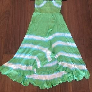 Dresses & Skirts - Flowy Green & White Tye-Dye Waves Dress