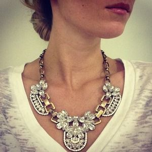 J. Crew Crystal Cluster Statement Necklace