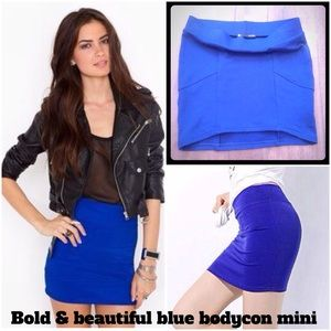 Beautiful Blue Bodycon Mini Skirt