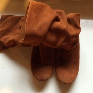 Brown suede slouch boot