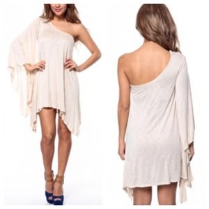 Dresses & Skirts - Nude Asymmetrical One Shoulder Dress Tunic