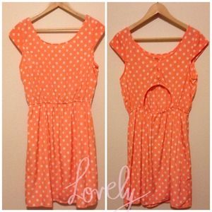 NWT Pink Owl Apparel Orange Polka Dot Dress