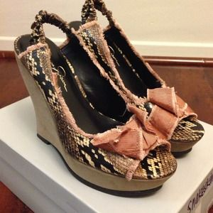 Jessica Simpson Shoes - Snakeskin wedge heels