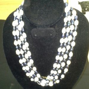 Jewelry - Navy & White Natural Freshwater Pearl Necklace