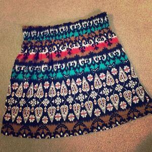 Aztec Pattern Skater Skirt