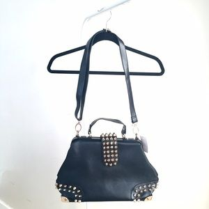NEW* black statement bag w gold studs