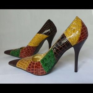 "Multi color 4"" stiletto heel  alligator-like skin"