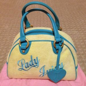 Authentic JUICY COUTURE velour bowler handbag