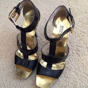 Michael Kors Black and Gold Heels