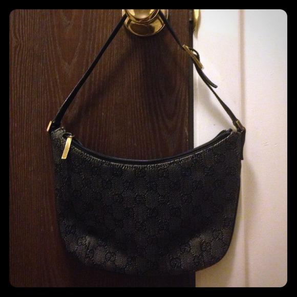 c55756dd7f5a Gucci Bags | Black Denim Monogram Small Shoulder Bag | Poshmark