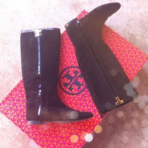 Authentic Tory Burch Black Suede Riding Boots