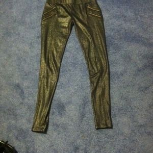 Pants - Black leggins with gold shimmer and gold zippers