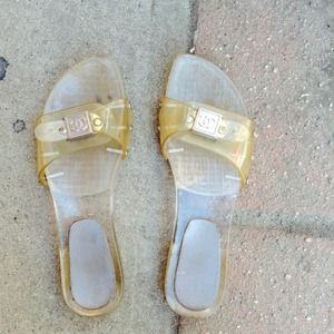 Chanel SZ 7 Clear Sandals Shoes Wedges