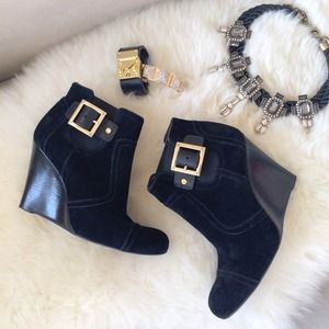 Tory Burch Boots - Tory Burch Black Suede Wedge Booties w/Gold Buckle