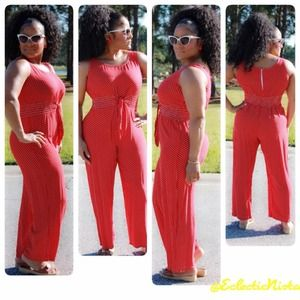 NEWVtg Red & White Polka Dot Jumpsuit