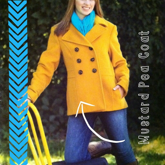 75% off Outerwear - SOLD GARAGE SALE Mustard Yellow Pea Coat from ...