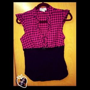Tops - Pink & Black Two-Toned Checkered Short Sleeve Top