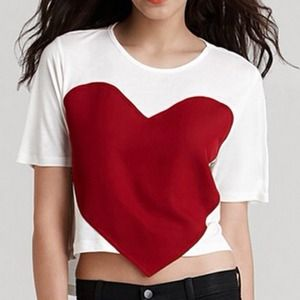 White Crop Top w/ Red Heart