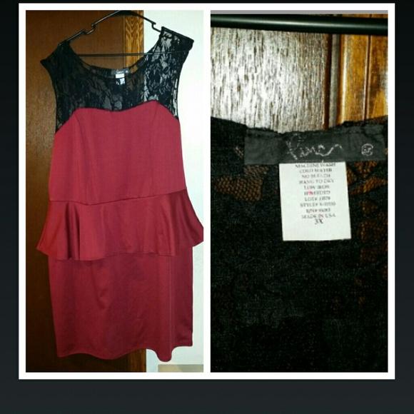 Peplum red & lace dress