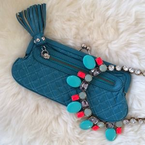 Clutches & Wallets - Quilted Teal Kiss Lock Tassel Clutch