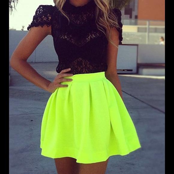 d62dc6d1bb Dresses   Skirts - NWOT Neon Yellow Scuba Skater Skirt