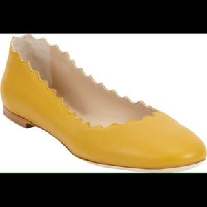 Chloe Mustard Yellow Lambskin Leather Ballet NWT10