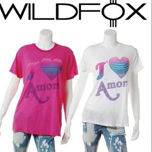 Wildfox Small J'❤️ amore t-shirt pink